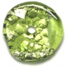 Glass Lamp Bead 26x26mm Ring Olivine/Silver Foil